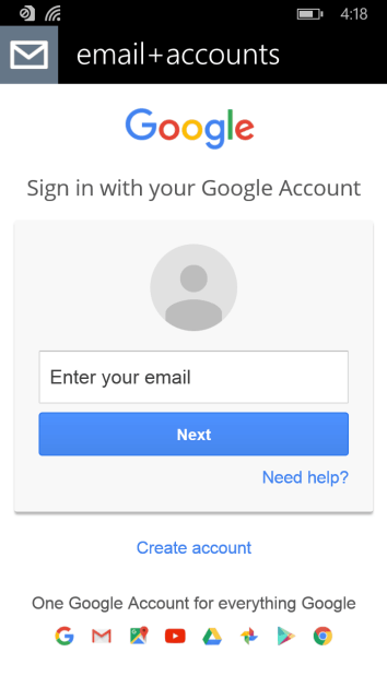 Adding Gmail accounts to Windows 10 Mobile Mail apps still
