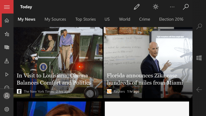 The black theme option in the MSN News app.