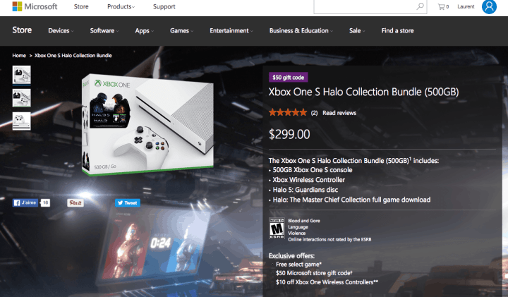 The Xbox One S Halo Collection Bundle on the US Microsoft Store.