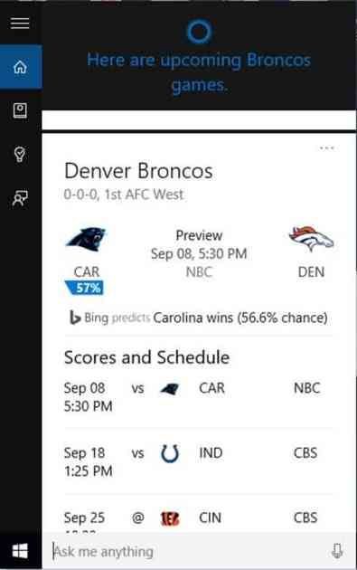 Cortana Knows Football!