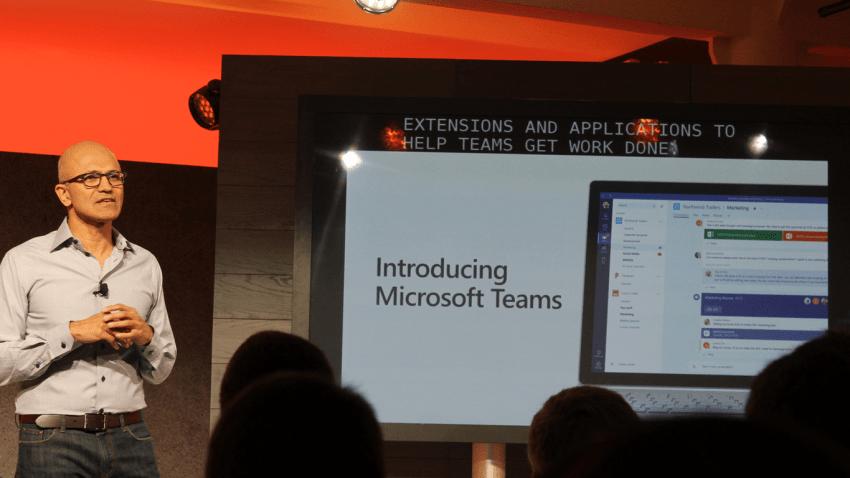 Satya showing off Microsoft Teams