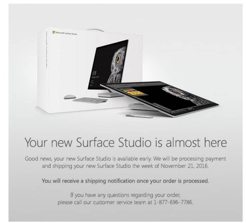 You may receive this notification if you pre-ordered the Surface Studio on the first day of availability.
