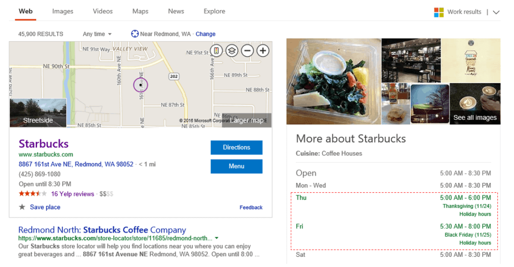 Microsoft Bing holiday hour feature