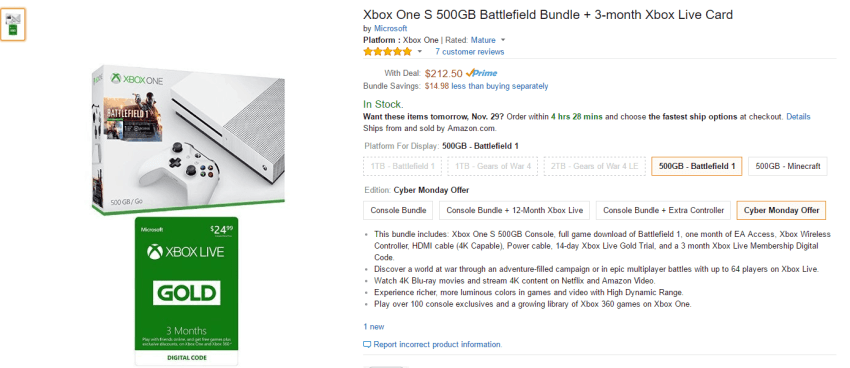 Cyber Monday deal on Xbox One S