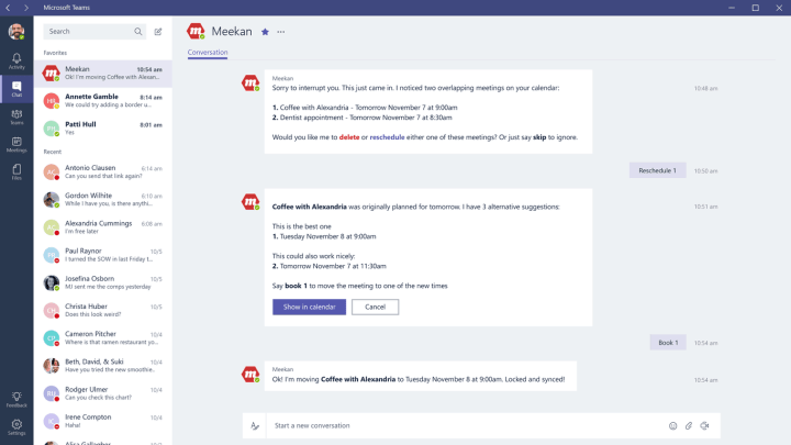 Team members can can engage with bots via queries and quick actions.