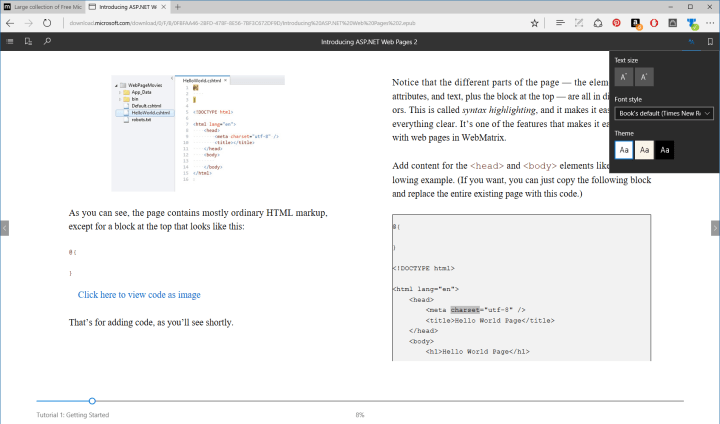Microsoft Edge EPUB Reader Windows Insider Preview 14971