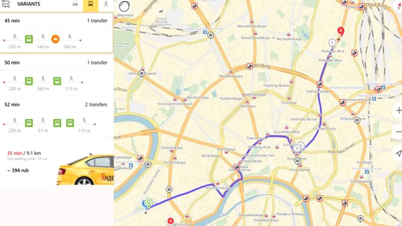 Yandex.Maps app on Windows 10