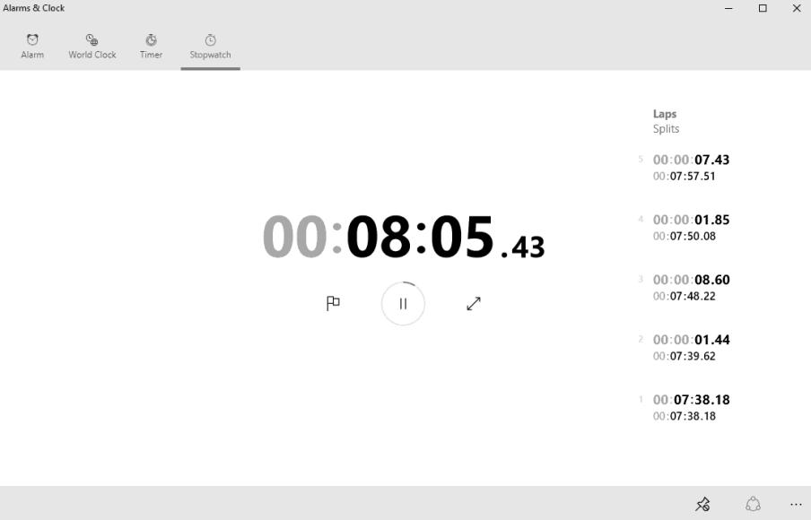 Windows 10 Alarms and Clocks Stopwatch