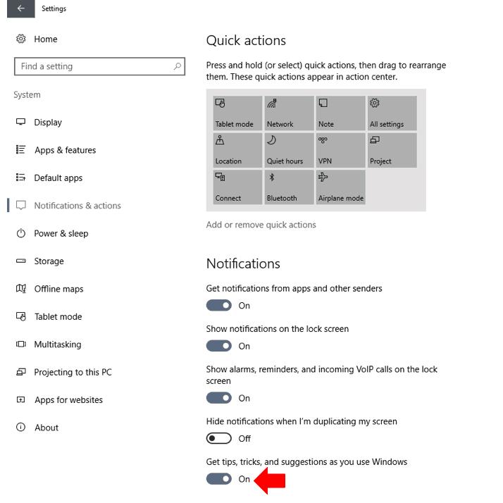 Windows 10 disable Windows tips