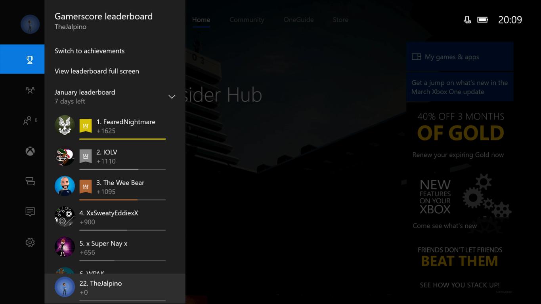 Xbox One Creators Update Guide Gamerscore Leaderboard