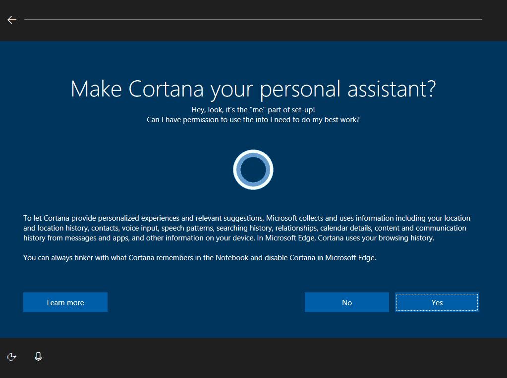 Microsoft, Cortana, OOBE