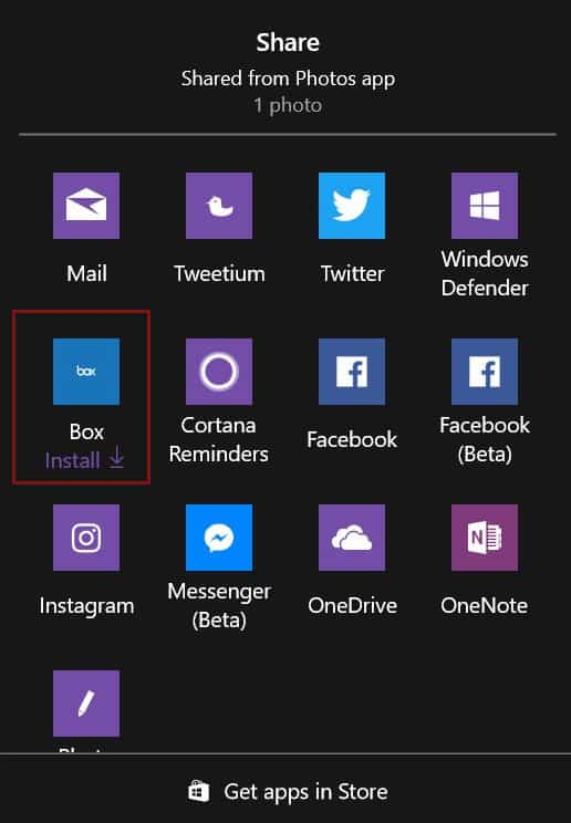 Ads in the Share menu Windows 10 creator's update