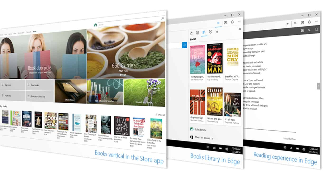 Ebooks in Windows 10 Windows Store and Microsoft Edge Browser