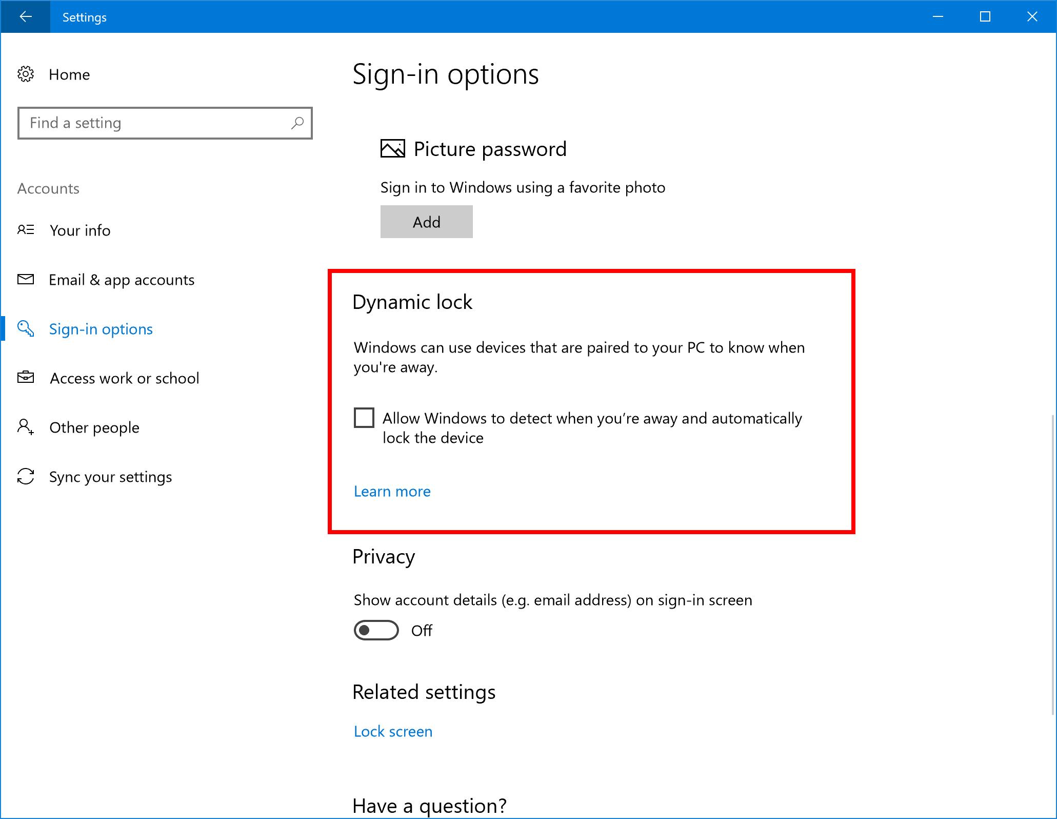 dynamic lock Windows 10 build 15031