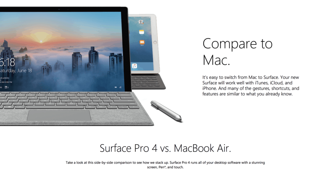Microsoft Surface Pro 4 Compare to Mac