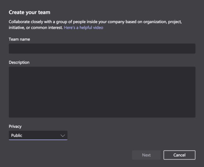 Microsoft Teams Create team