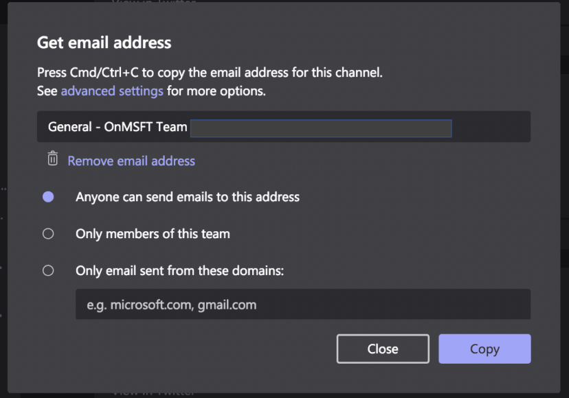 Microsoft Teams email integration