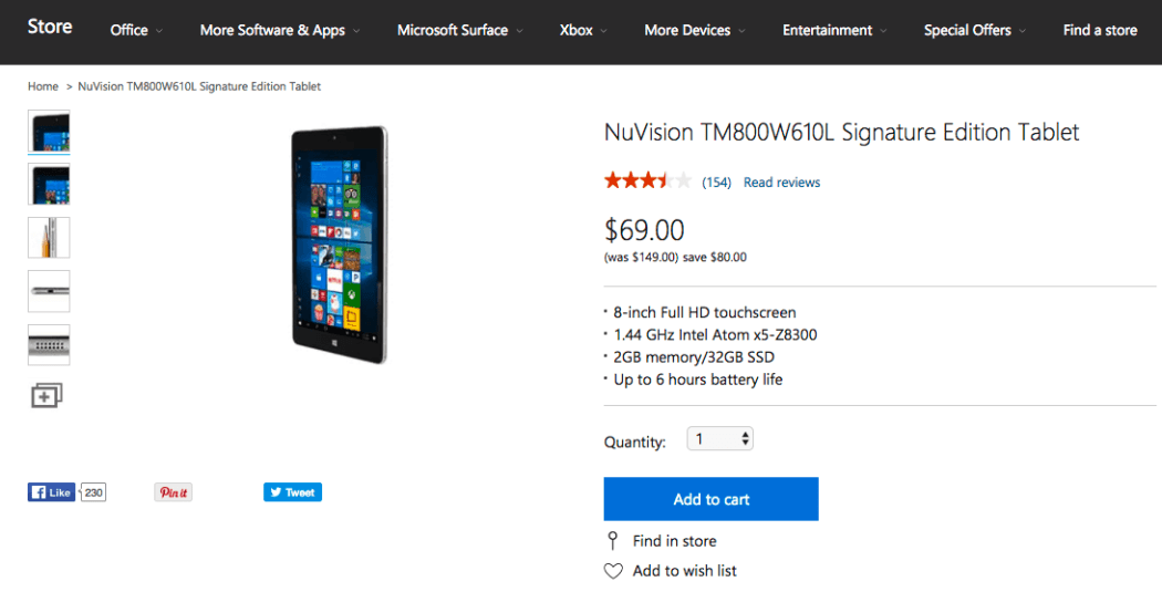 NuVision Windows 10 tablet