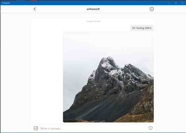 You can now send photos and videos via DM on Instagram for Windows