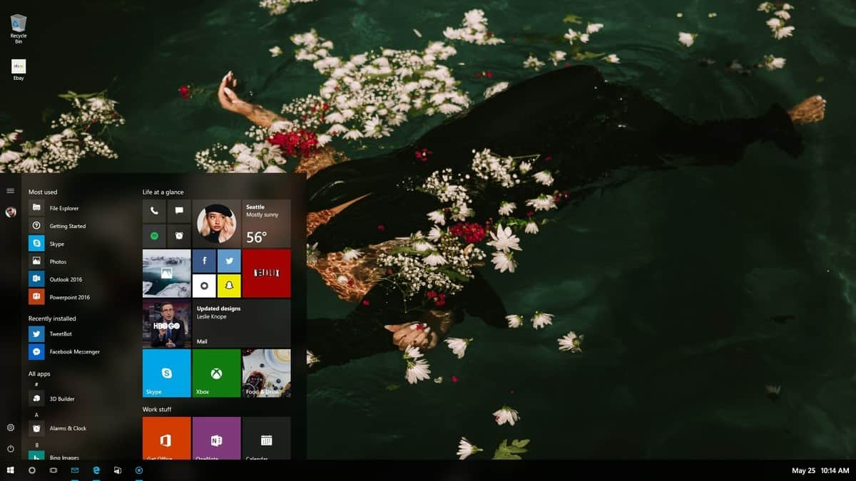 "Windows 10 ""Project NEON"" image leaks showing transparent start menu"