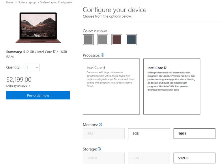 Surface Laptop Pricing