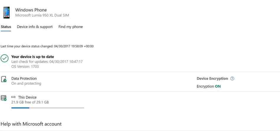 Microsoft's Device Account Phone Info