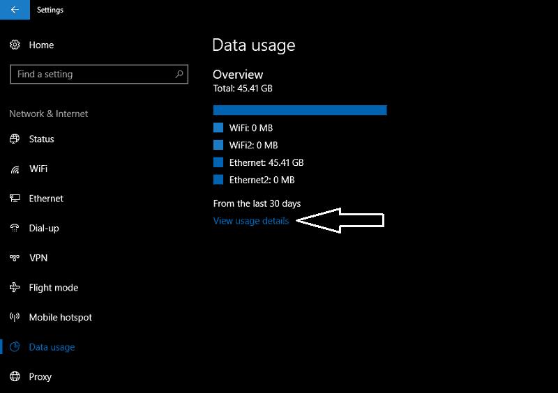Screenshot of Windows 10 datS usage screen