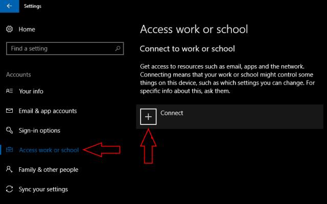 "www.office.com/setup - Screenshot of Windows 10 Creators Update ""access work or school"" settings page"
