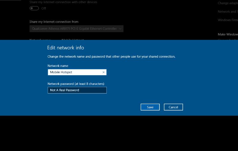 Screenshot of Windows 10 mobile hotspot password editor