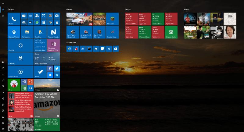 Windows 10 Full Screen Start Menu screenshot