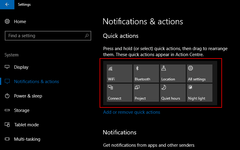 Screenshot of the Notifications and actions Windows 10 settings screen