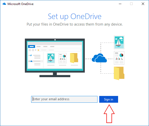 "Screenshot of the Windows 10 OneDrive ""Add account"" screen"
