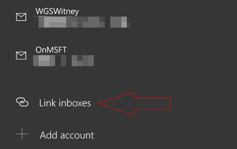 "Screenshot of ""Link inbox"" option in Windows 10 Mail Manage Accounts screen"