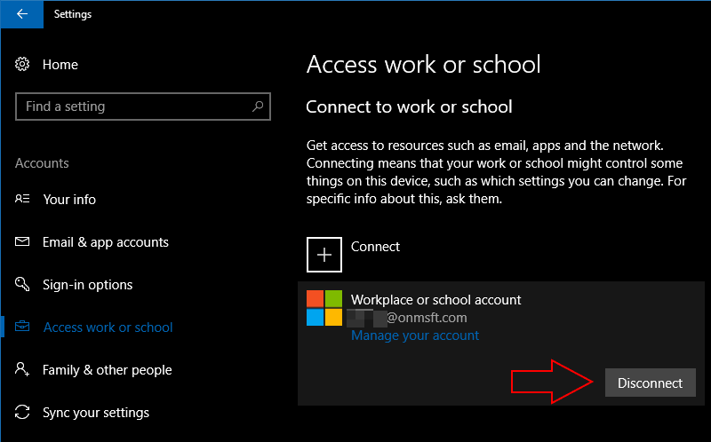 Screenshot of Windows 10 removing an account