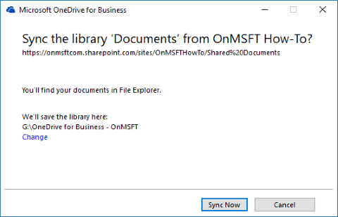 Screenshot showing OneDrive for Business sync client sync confirmation prompt