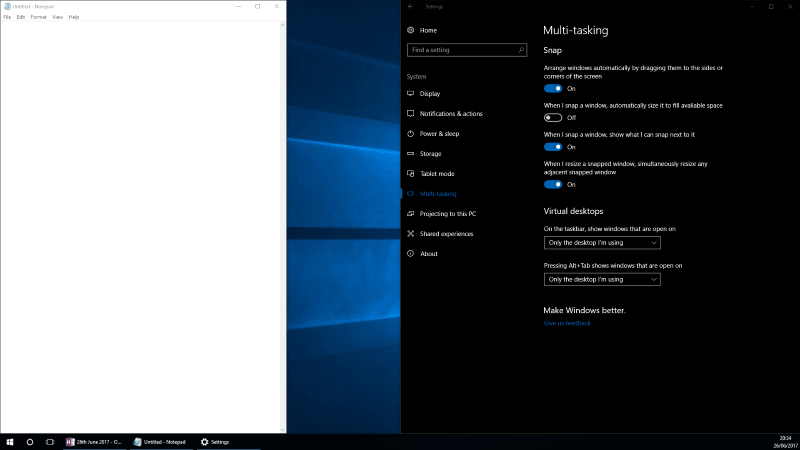 Screenshot of Windows 10 Snap without automatic sizing