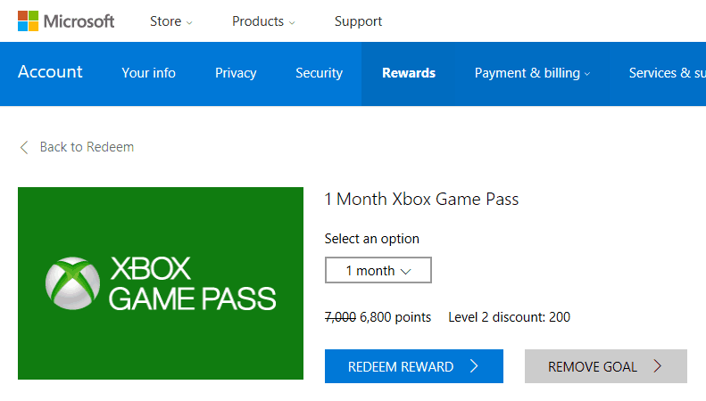 Xbox Game Pass on Microsoft Rewards