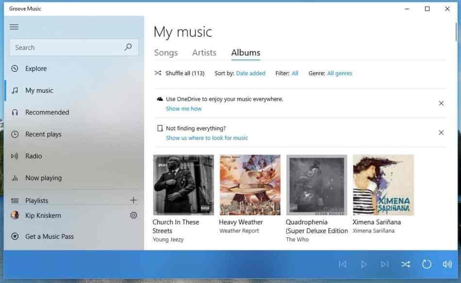 Groove Music Fluent Design