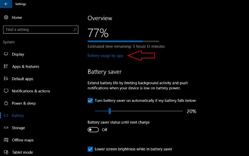 Screenshot of Windows 10 Battery settings screen