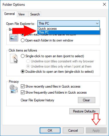 Screenshot of Windows 10 File Explorer options