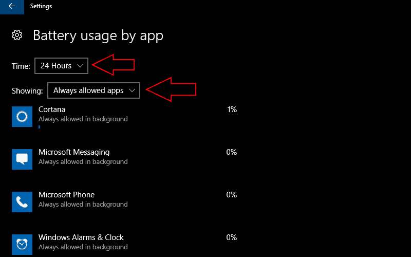 Screenshot of WIndows 10 battery usage screen filtered to always-allowed apps