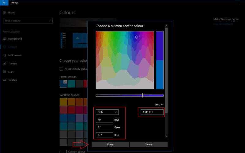 Screenshot of Windows 10 custom colour settings