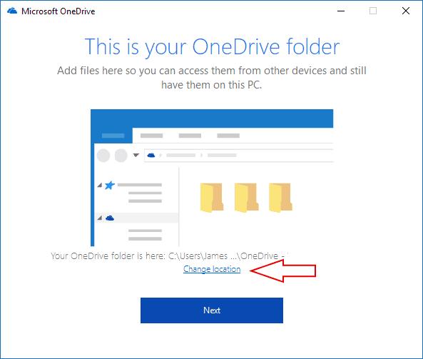 Screenshot of OneDrive folder selection screen
