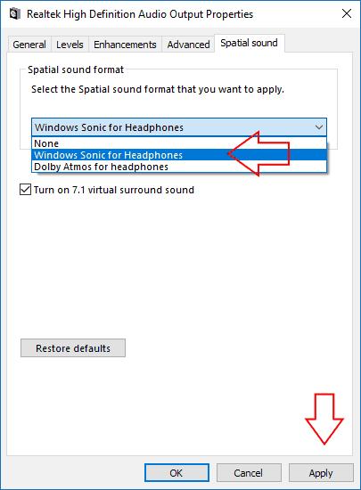 Screenshot of Windows 10 Dolby Atmos settings