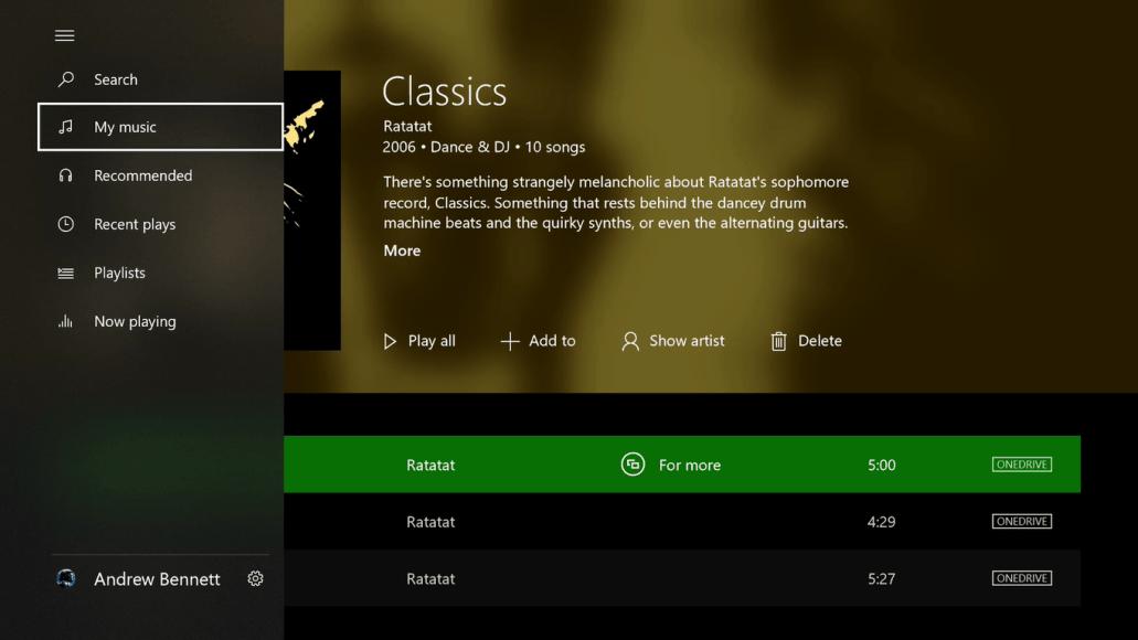 Groove Music on Xbox One. Image Credit: MSPowerUser.com