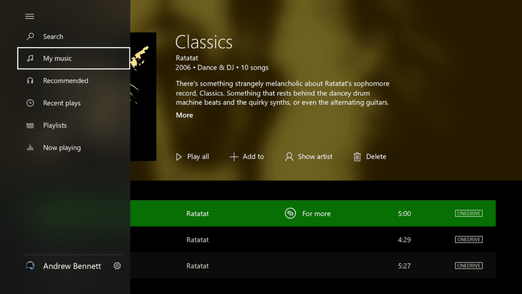 Groove Music on Xbox One. Image Credit: MSPowerUser.com