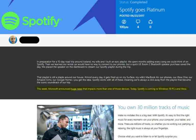 Spotify App on Xbox One and Windows 10