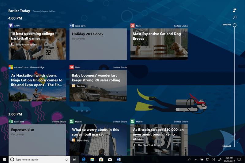 Windows 10 Insider build 17063 Timeline