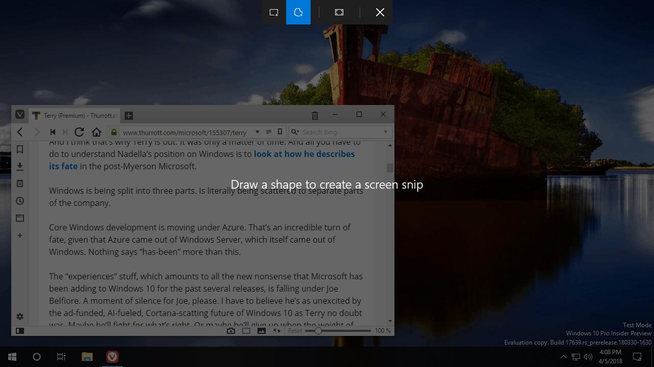 "Windows 10 Redstone 5 update will introduce new ""Screen clip"