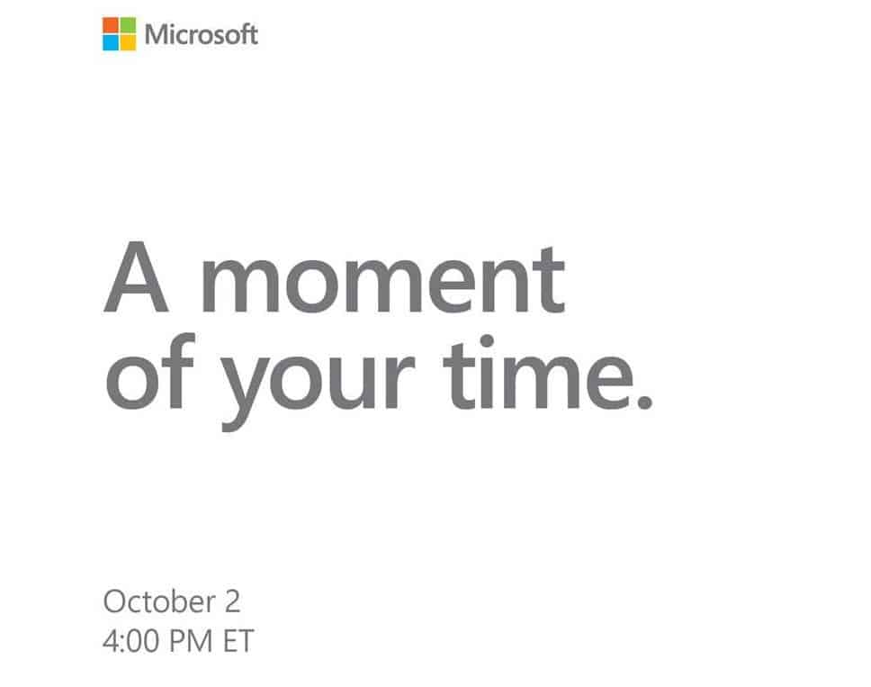 Microsoft Surface event scheduled for October 2